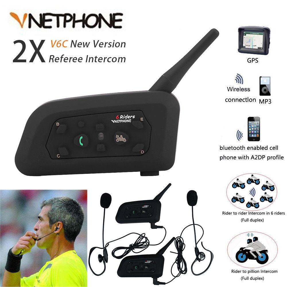 2x Full Duplex árbitro Intercomunicador de dos vías Walkie Talkie 6 usuarios Auriculares azultooth