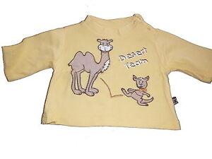Niedliches-Langarm-Shirt-Gr-50-gelb-mit-Kamel-Applikation