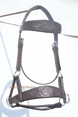 Brown sidepull bitless bridle with hand carving on browband /& noseband.