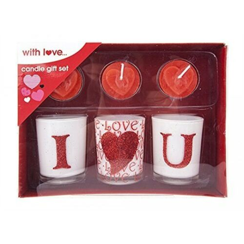 """Perfect Valentine/'s Day Gift /""""love/"""" 6pc Candle Gift Set With Decal Valentines"""