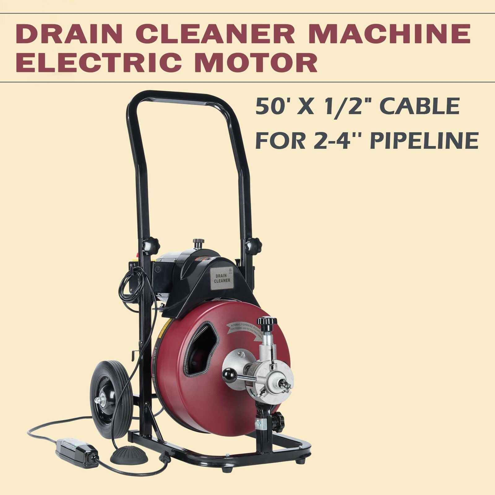 50FT*1//2/'/' Drain Auger Pipe Cleaner Machine Rigid W//Cutter Easy WIDELY TRUSTED
