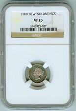 Original 1888 Newfoundland 5 cents NGC VF20