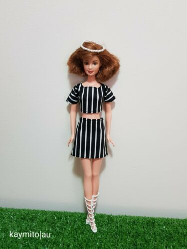 Doll black /& white stripe fashion outfit For Your Basic Barbie Doll Au Made
