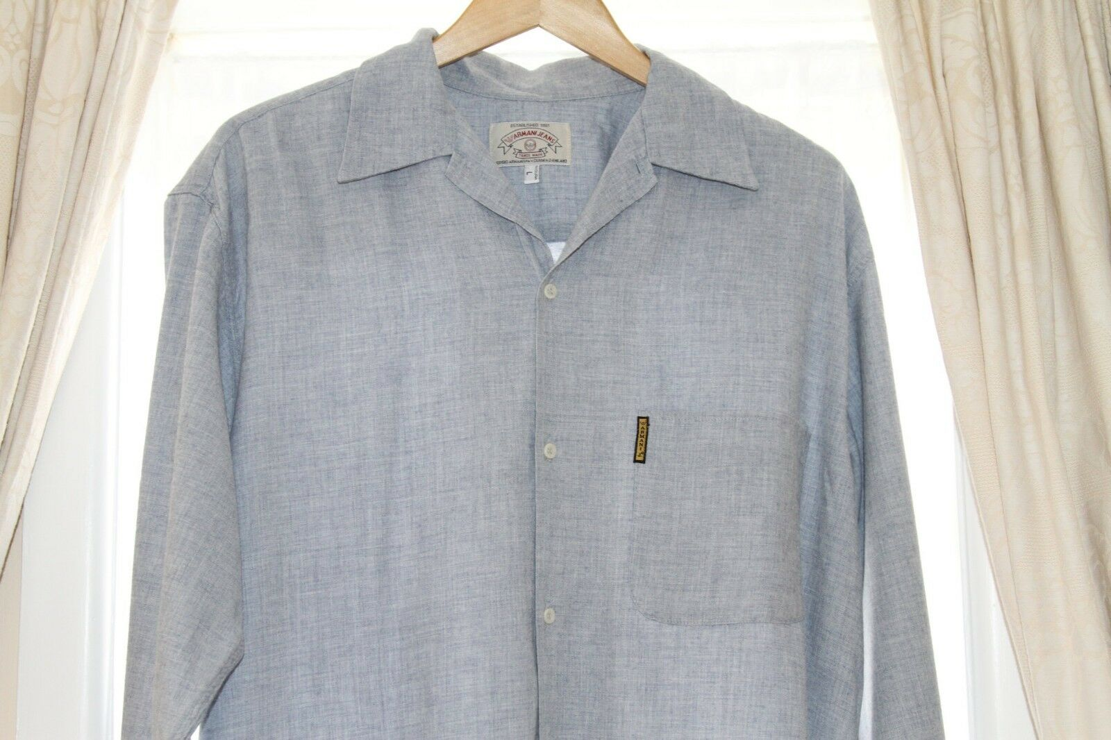 Armani Jeans Vintage Men's Long Sleeve Shirt - Cotton & Wool - From late 1990's