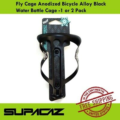 1 or 2 Pack Supacaz Fly Cage Anodized  Alloy Bicycle Water Bottle Cage Black
