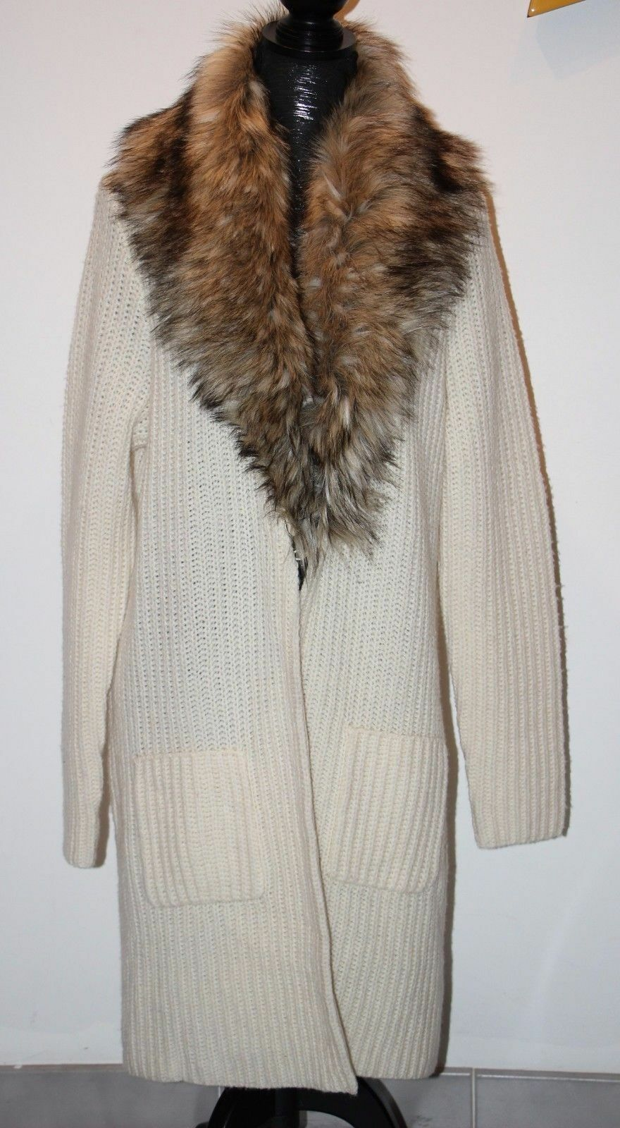 Ralph Lauren Faux Fur Collar Knitted Coat Cardigan in Morning Cream XS-L-XL