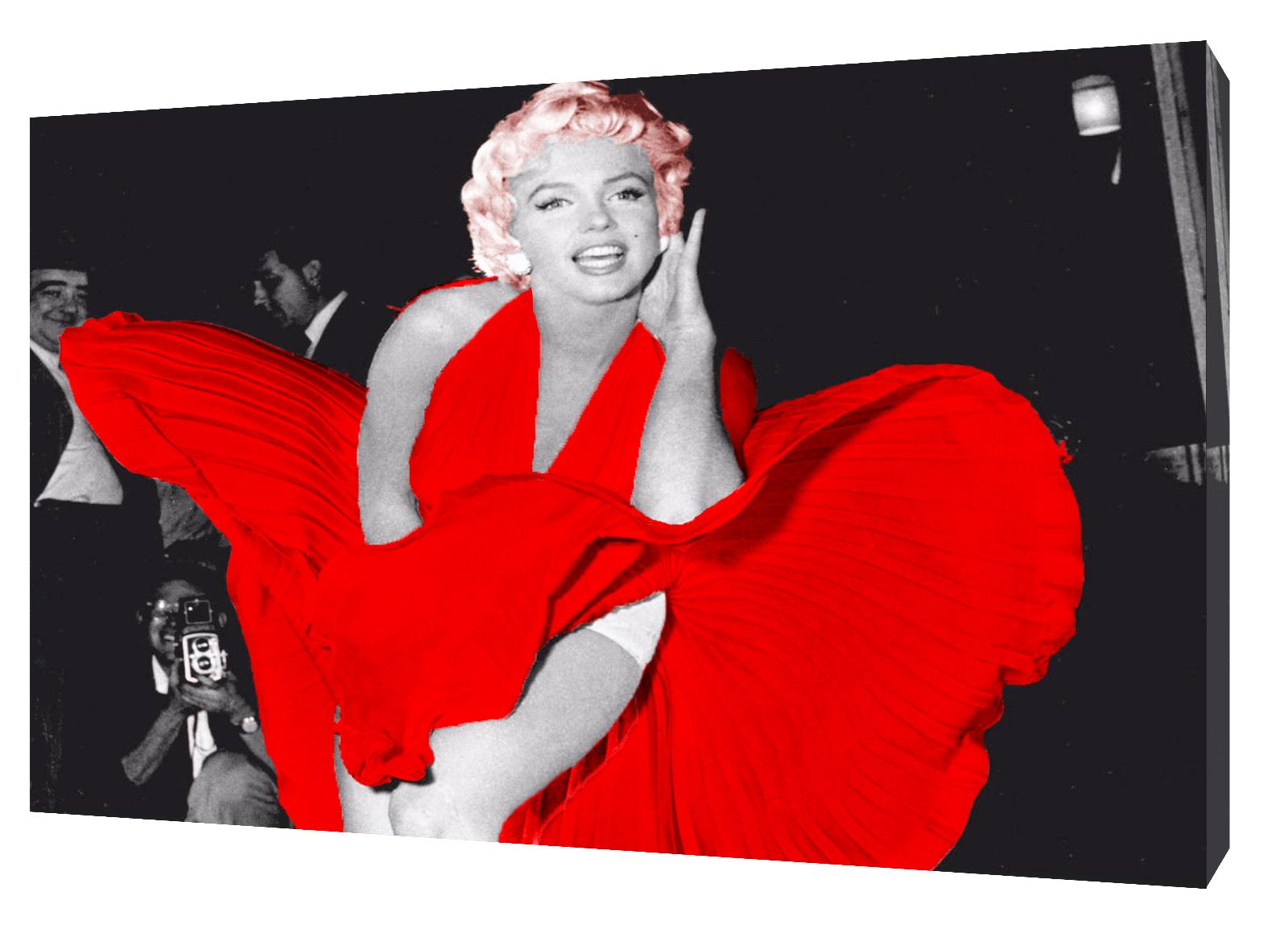 MARILYN MONROE in abito rosso Quadro Stampa Su Tela Tela Tela Incorniciato Wall Art 8f9ed5