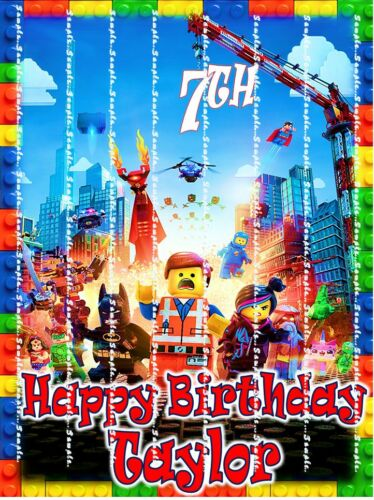 Personalized edible cake topper FREE SHIPPING in Canada LEGO  MOVIE