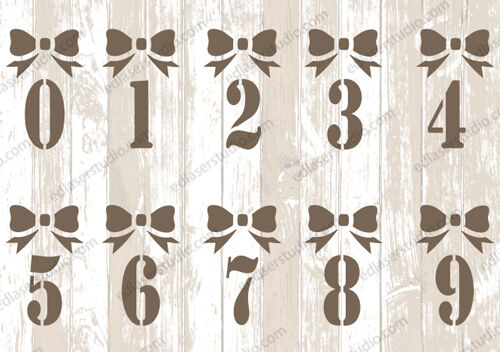Numbers Bow Christmas Celebrations Stencil Template Card making Paint Crafts AL9