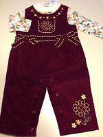 Cre8ions Girls 2 Piece Flower Leaf Print Corduroy Overalls & Bodysuit 6m