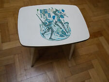VINTAGE RETRO LADY CLARE MELAMINE OCCATIONAL TABLE WITH KNIGHTS