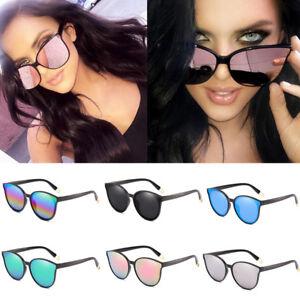 Fashion-Lunettes-de-soleil-UV400-plat-carre-miroir-oeil-de-chat-Surdimensionne-Lunettes-Femme