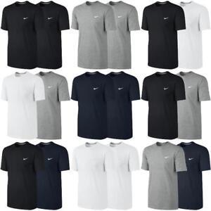 2x Nike Embroidered Logo Swoosh T-shirt Classic Basic Fitness Loisirs Shirt Top-afficher Le Titre D'origine Les Commandes Sont Les Bienvenues.