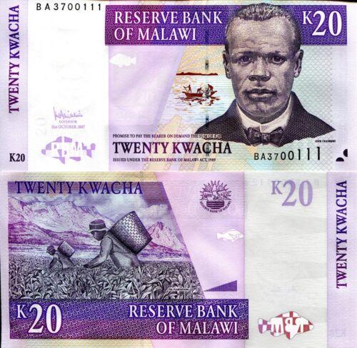 MALAWI 20 Kwacha Banknote World Paper Money UNC Currency Pick p52d Chilembwe