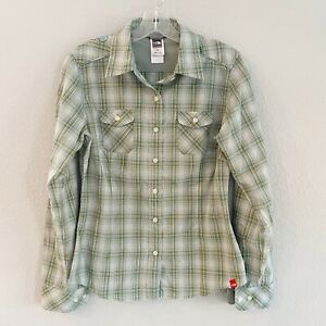 The-North-Face-Women-039-s-Green-Plaid-Long-Sleeve-Button-Down-Shirt-Size-S