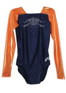 NWT-GK-Elite-Gymnastics-Long-Sleeve-Leotard-Rhinestones-Orange-Blue-Adult-Medium