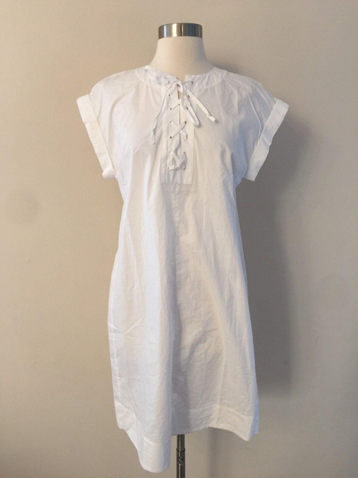 NEW Jcrew Tall Lace Up Cotton Shirt Dress White G6001 SUMMER 2017 SIZE TS