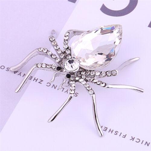 Weiße Spinne Silber vergoldet Mode Broschen Schmuck elegante Kristall Brosche/_pr