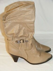 ZODIAC-Women-039-s-WESTERN-BOOTS-Size-9M-Tan-Cream-Buckled-ANKLE-STRAP-TOE-TRIM