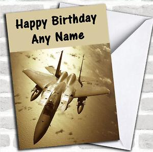Grey Fighter Jet Birthday Customised Card