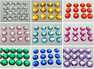 100-Acrylic-Flatback-Rhinestone-Faceted-Round-Gems-14mm-No-Hole-Pick-Your-Color