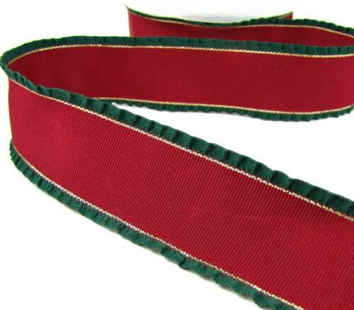 "1 Yd RARE Christmas Darker Red Green Gold Double Ruffle Grosgrain Ribbon 1 1//2/""W"