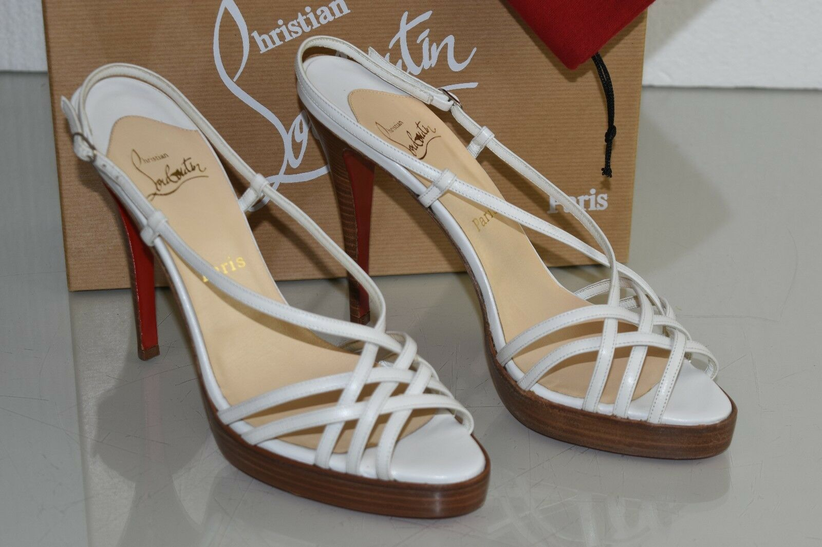 NEW Christian Louboutin CAGE ZEPPA Platform Weiß Leather Sandals schuhe 41