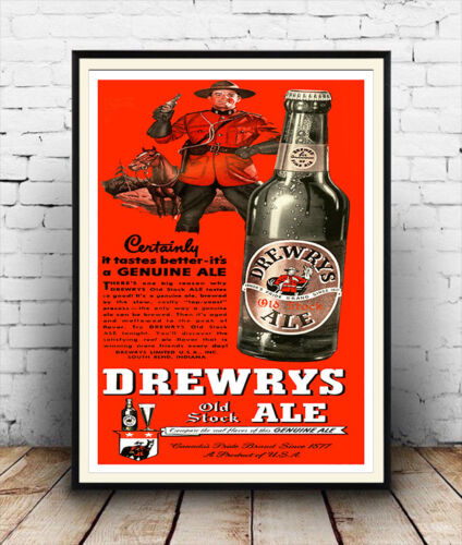 Wall art. Vintage Canadian drink advertising Drewrys Reproduction poster