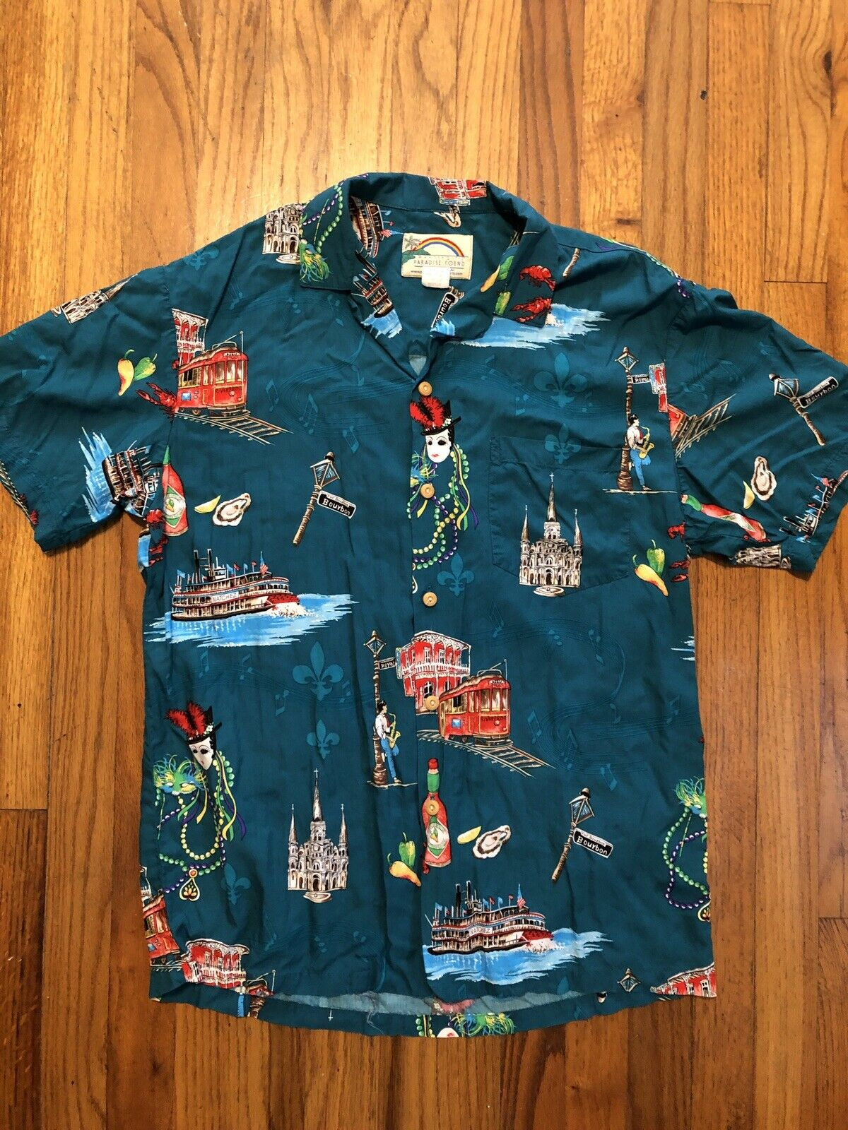 39d2a542f Hawaiian Shirt MARDI GRAS Theme Green Men s M Paradise Found ...