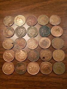 Half Roll (25) Junk Cull Indian Head Cent Penny Lot