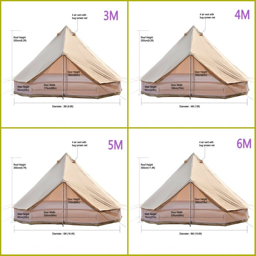4M 5M 6M Mesh Wall Cotton Canvas Bell Tent Waterproof Hunting Camping Yurt Tent