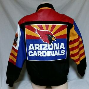 Image is loading VTG-Arizona-Cardinals-Jeff-Hamilton-Denim-Leather-Jacket- 9e740a7d405d7