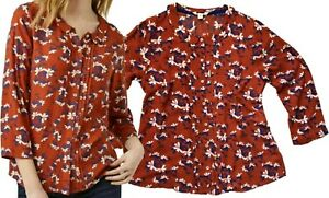 NEW-IN-WHITE-STUFF-Rust-Burnt-Orange-Pretty-Floral-Blouse-Top-Shirt-6-18-FAB