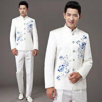 Chinese Traditional Men's Jacket Long Sleeve Satin Coat Tang Suits Sz S-3xl