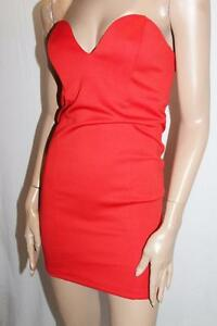 SUPRE-Designer-Red-After-Party-Bodycon-Strapless-Dress-Size-XS-BNWT-SG40