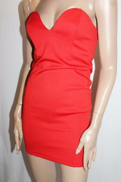 SUPRE Designer Red After Party Bodycon Strapless Dress Size XS BNWT #SG40
