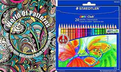 World Of Patterns Pack Adult Colouring Book for Grown Ups 24 Colouring Pencils