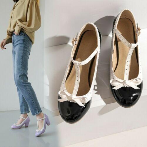 Cute Women/'s Princess Lolita T-Strap Buckle Block Heel Bowknot Mary Janes Shoes