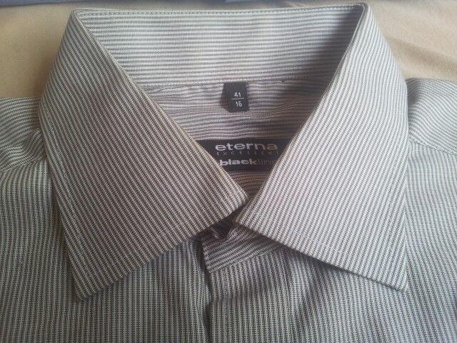 U389 Eterna Noirline Excellent Chemise blanc 41 marron blanc Chemise gris rayé très bien 231114