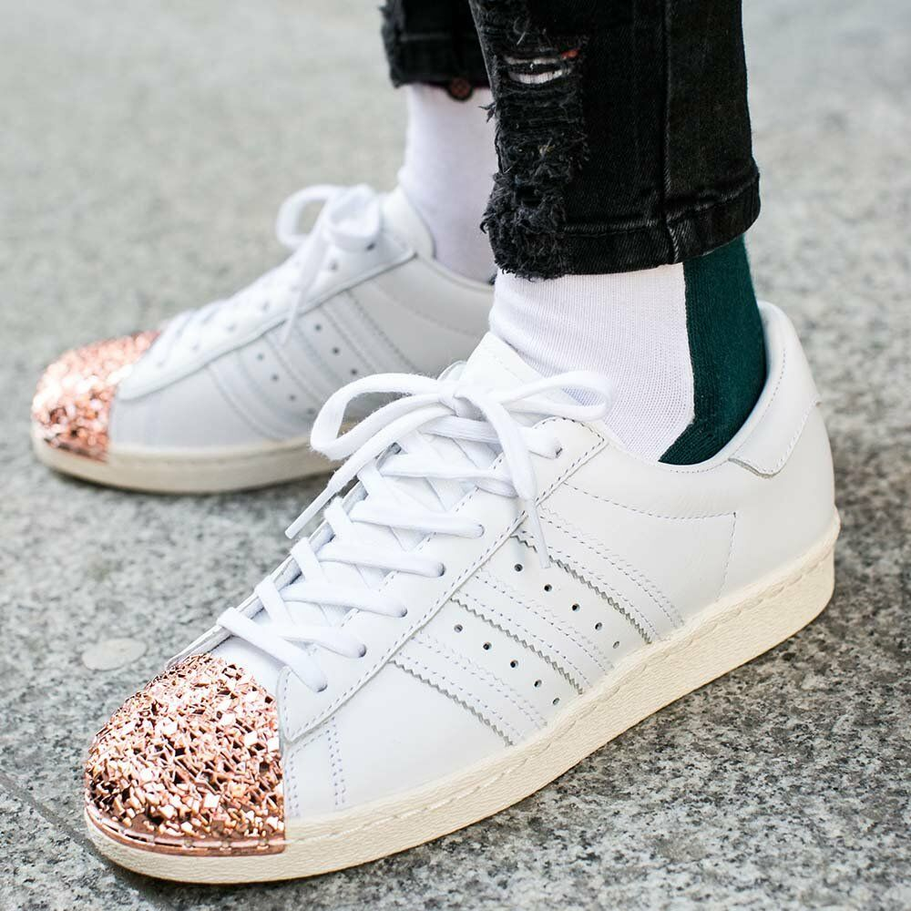 ADIDAS SUPERSTAR 80'S 3D METAL TOE blanc ROSE GOLD GOLD GOLD Femme TRAINERS7.5 RARE 064ae4