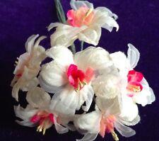 Vintage Millinery Flower Velvet Chiffon Ivory Cream w/ Pink 6p Lot Hat Trim iY11