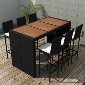 Details About Vidaxl Garden Bar Set 13 Piece Poly Rattan Wicker Acacia Wood Outdoor Table