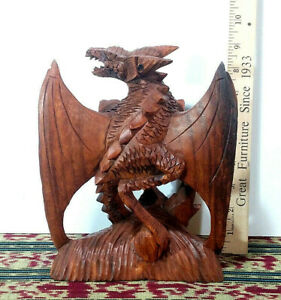 """1 - 8.75"""" Hard Wood, Winged Dragon Sculpture, Hand Crafted Art - Made in Bali"""