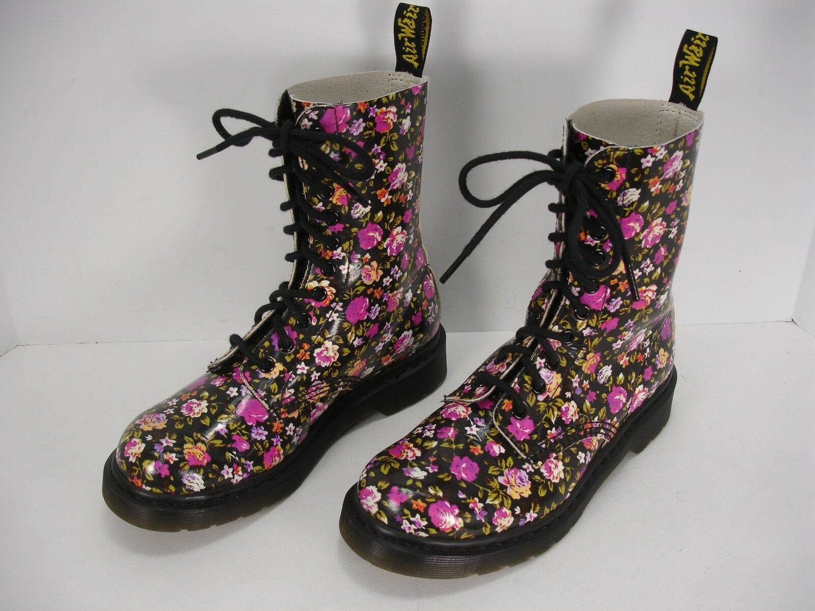 DR MARTENS SIMONE PATENT LEATHER FLORAL PRINT LACE UP ANKLE BOOTS WOMEN'S 7