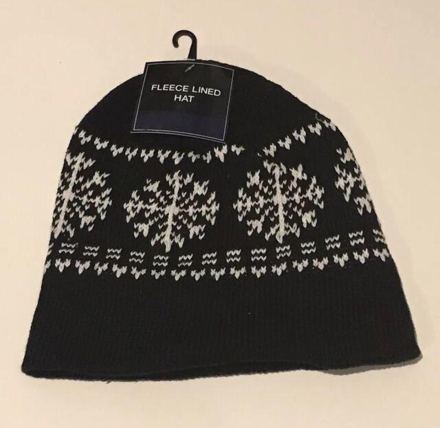 766ce465 Black And White Snowflake Winter Hat Knit Beanie Fleeced Line Mens OSFM
