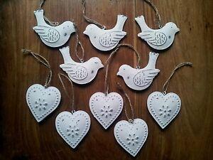 Set-Of-Ten-Vintage-Chic-DOVE-BIRDS-amp-HEARTS-White-Cream-Hanging-Metal-Decs