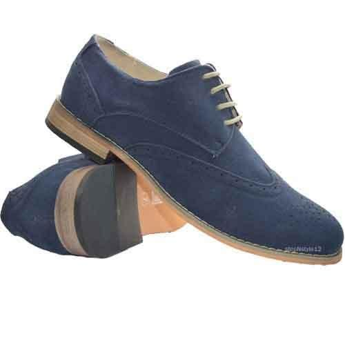 MENS BROGUE SHOES FAUX SUEDE LACE UP CASUAL FORMAL WORK OFFICE PARTY SHOES