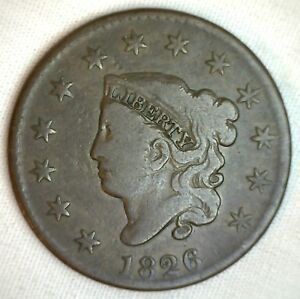 1826-Coronet-Large-Cent-US-Copper-Type-Coin-VG-Very-Good-N9-Variety-Penny-M1