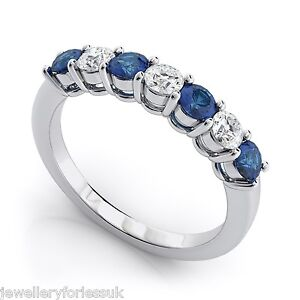 18K-White-Gold-Diamond-amp-Blue-Sapphire-7-Stone-Eternity-Ring-0-50cts-2-5MM-wide