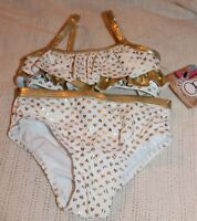 Girls Op Ocean Pacific 2 Pc Bathing Suit White W/ Gold Hearts Ruffle Pageant